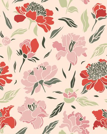 Seamless pattern with pink, red lilies and peonies on a light background. Surface design. Texture for fabric, wallpaper, paper. Vector illustration.