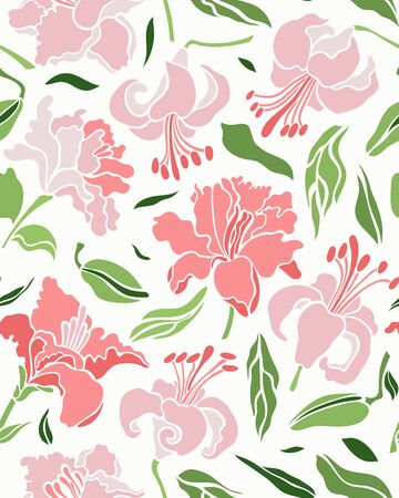 Seamless pattern with lilies. Flat style. Vector illustration with floral background.