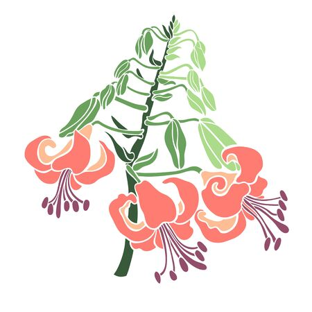Bouquet branch blooming lilies. Floral element for design. Vector illustration in a flat style. Иллюстрация