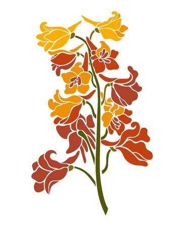 Bouquet branch blooming delphinium. Floral element for design. Vector illustration in a flat style. 矢量图像