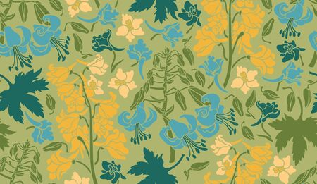 Seamless pattern with lilies and delphiniums. Background with flowers in green, blue, blue, yellow. Surface design. Vector illustration.