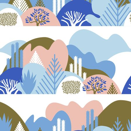 Merry Christmas. Seamless pattern with winter hilly landscape with trees and plants. Scandinavian style. Environmental protection, ecology. Park, outdoor space, open. Vector illustration in a flat style. Ilustração
