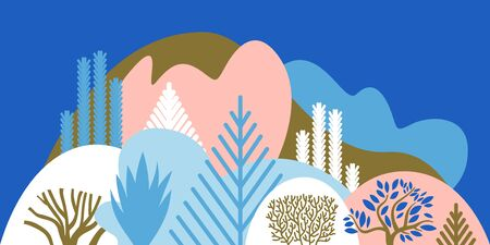 Merry Christmas. Winter hilly landscape with trees and plants. Scandinavian style. Environmental protection, ecology. Park, outdoor space, open. Vector illustration in a flat style.