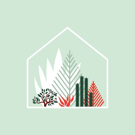 Greenhouse with cacti, succulents and palm trees. Tropical house for plants. Vector illustration.