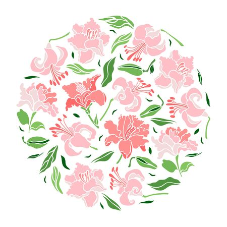 Poster flowers in a circle. Set of lily flowers, leaf, bud. Isolated flowers for design of cards, invitations, textures. Vector illustration.