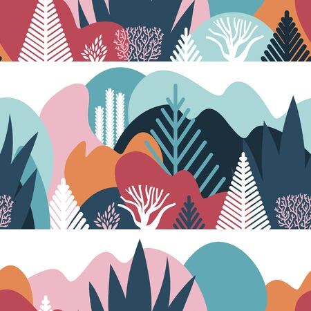 Seamless pattern with winter landscaping, plants, trees, hills. Preservation of the environment, ecology. Natural parks, tourism. Flat style. Vector illustration. 矢量图像