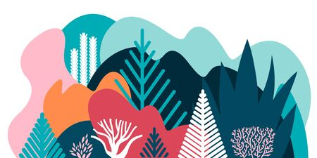 Card, banner, invitation with winter landscaping, plants, trees, hills. Preservation of the environment, ecology. Natural parks, tourism. Flat style. Vector illustration.