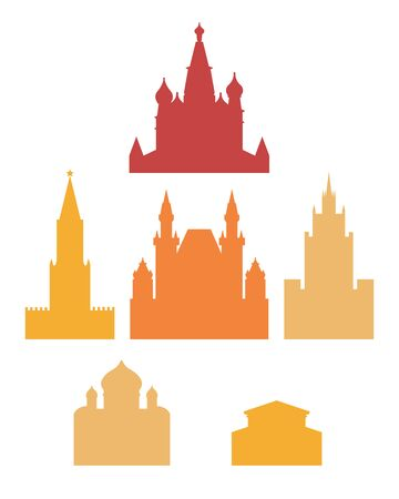 Russia, the city of Moscow. The architecture of the city. Spasskaya Tower, Cathedral of Christ the Savior, St. Basil's Cathedral, Bolshoi Theater, Moscow State University. Historic architecture. Vector illustration. 矢量图像
