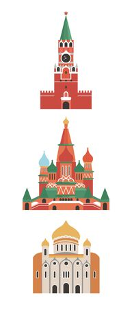 Russia, the city of Moscow. The architecture of the city. Spasskaya Tower, Cathedral of Christ the Savior, St. Basil's Cathedral. Historic architecture. Vector illustration.