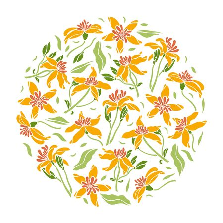 Poster flowers in a circle. Set of clematis flowers, leaf, bud. Isolated flowers for design of cards, invitations, textures. Vector illustration.