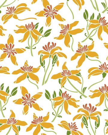 Seamless pattern with flower clematis. Surface design. Texture for fabric, wallpaper, paper. Vector illustration.