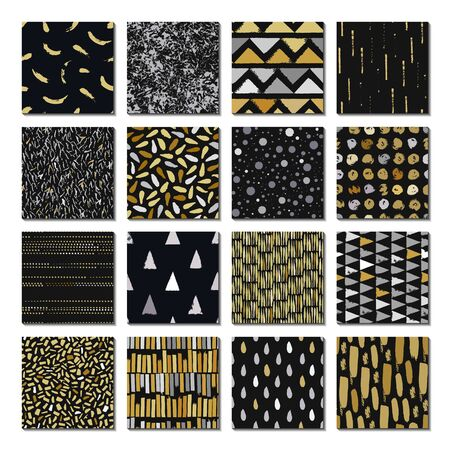 Merry Christmas. Gold and silver color. Set of 16 seamless texture. Drops, points, lines, stripes, circles, squares, rectangles. Abstract forms drawn a wide pen and ink. Hand drawn. Vector illustration.