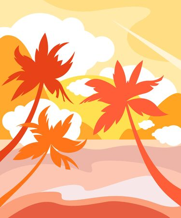 Shore with palm trees against the backdrop of the ocean and the setting sun. Tropical landscape, tourism. Vector illustration. 矢量图像