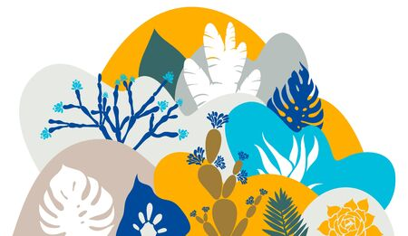 A print with a hilly landscape in which palm trees, cacti and succulents grow. Botanical tropical garden. Environmental protection. Vector illustration.