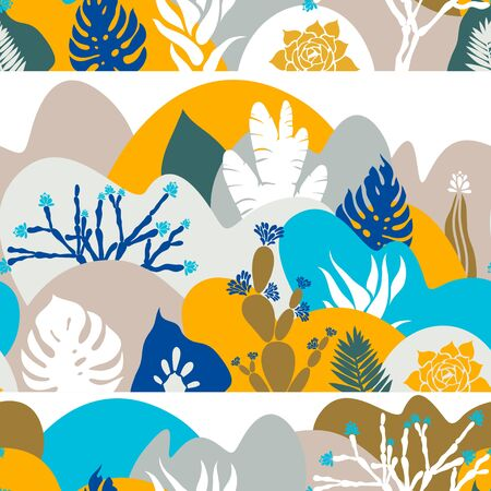 Seamless pattern. A print with a hilly landscape in which palm trees, cacti and succulents grow. Botanical tropical garden. Environmental protection. Vector illustration.
