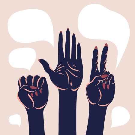 Poster with arms raised up. Open palm, fist, victory gesture. Civil unrest, demands, protection. Vector illustration.
