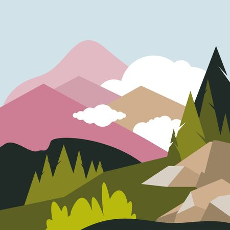 Landscape with mountain peaks in the clouds, overgrown with forest. In the foreground are trees and stones. Leaflet depicting summer mountain hikes. Vector illustration.