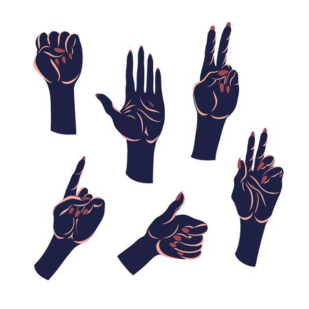 Set of hand gestures. Open hand, fist, peace, approval, direction. Vector illustration.