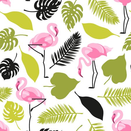 Seamless pattern with flamingos and tropical leaves. Wildlife Vector illustration.