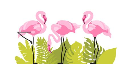 Flamingo print in tropical leaves. Wildlife, pink birds. Vector illustration.