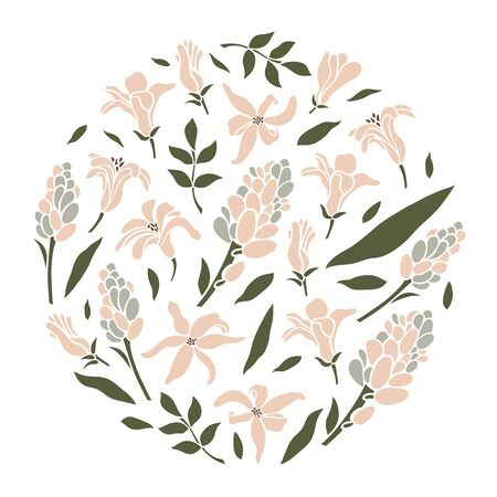 Flowers, buds, hyacinth inflorescences and leaves in a circle. Vector illustration.