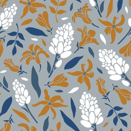 Seamless pattern with blooming hyacinths. Inflorescences, flowers, leaves. Vector illustration.
