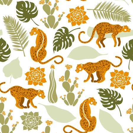 Seamless pattern with leopards in tropical leaves, cacti and succulents. Wildlife, flora and fauna. Vector illustration. Illustration