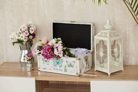 casket for needlework with flower, sewing in style interior