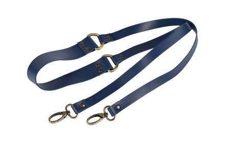 blue leather belt with carbine and metal accessories isolated on white background. use for bags and suitcases