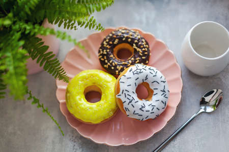 Sweet and fresh colored different donuts with chocolate frosted, glazed and sprinkles, icing topping on pink plate on concrete background.