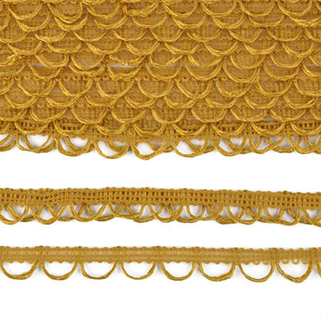 orange elastic lace decorative finishing braid with button loops. use sewing and decorating pillows, shirts clothing. texture for banner. space for text.