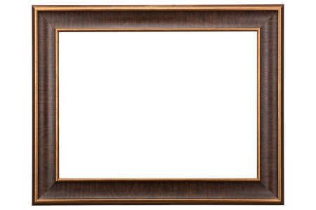 Brown Classic Old Vintage Wooden mockup canvas frame isolated on white background. Blank Beautiful and diverse subject molding baguette. Design element. use for framing paintings, mirrors or photo.