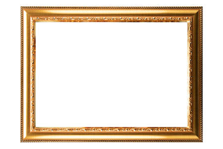 Gold Classic Old Vintage Wooden mockup canvas frame isolated on white background. Blank Beautiful and diverse subject molding baguette. Design element. use for framing paintings, mirrors or photo.