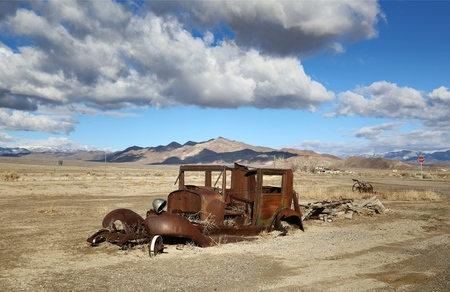 wrecked: Wrecked Car in Desert, Nevada