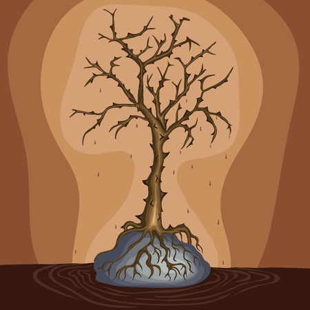 Dead tree on the rock, vector eps Stock Vector - 17870510