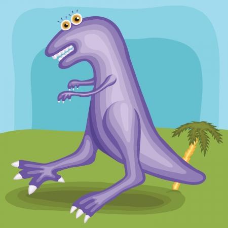 Large dinosaur with big eyes near palm tree, vector eps Illustration