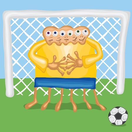 Soccer goalkeeper protects the gate, vector eps