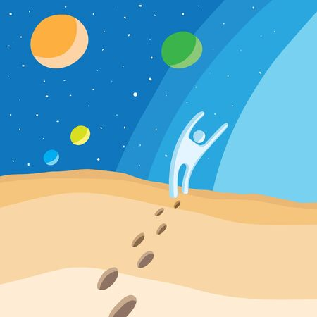 Walk on planet hands up, vector eps