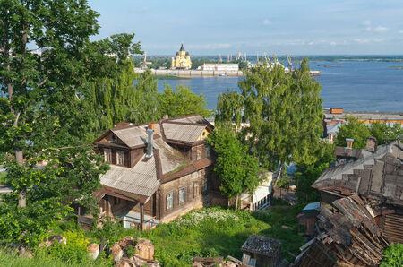 oka: The views of the Nizhny Novgorod in Russia. Temples and river Oka. Stock Photo
