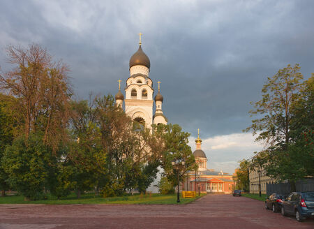 believers: Beautiful church on a summer evening in Moscow.