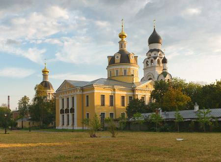 believers: Moscow, beautiful church in a sunny summer evening.