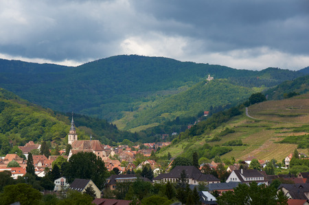 vins: Beautiful city Andlau in Alsace in France