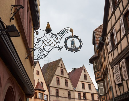 vins: Beautiful city Kaysersberg in Alsace in France Stock Photo