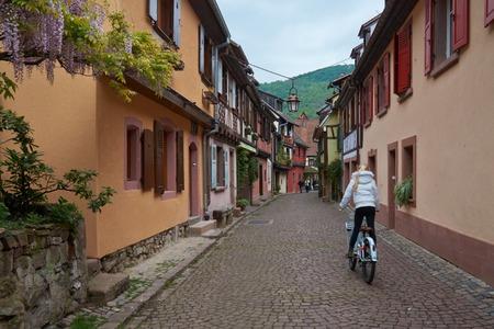 vins: Beautiful city Kaysersberg in Alsace in France Stock Photo