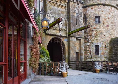 Beautiful Island Mont Saint-Michel. The city gate.