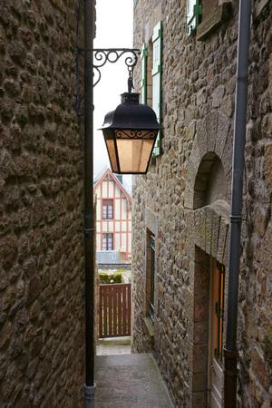 mont saint michel: Beautiful Island Mont Saint-Michel. Narrow street.