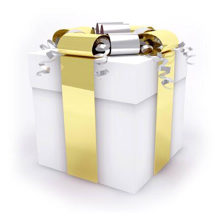 White gift box isolated on a white background Stock Photo