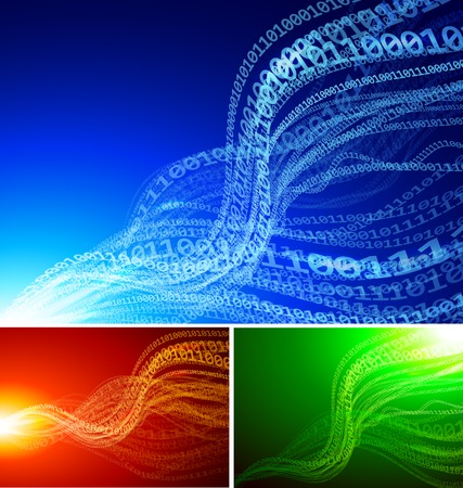 Set of abstract backgrounds with binary waves Illustration