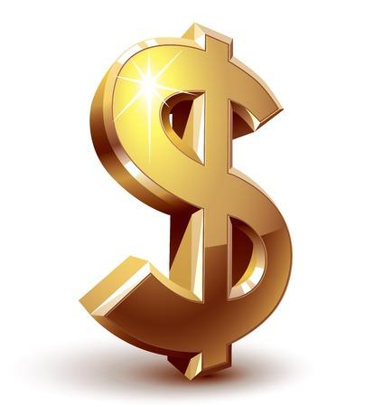 us dollar: Shiny golden dollar sign