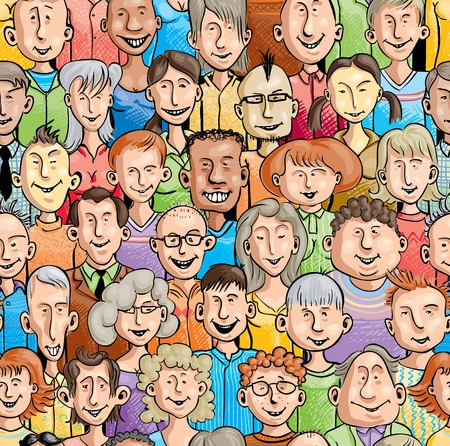 Seamless pattern with 30 unique smiling faces Ilustrace